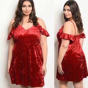 Dresses & Skirts - Red velvet off the shoulder dress